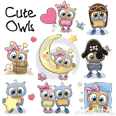Free Set Of Cute Cartoon Owls Royalty Free Stock Photos - 100803378