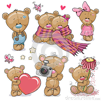 Free Set Of Cute Cartoon Teddy Bear Royalty Free Stock Photos - 78972038