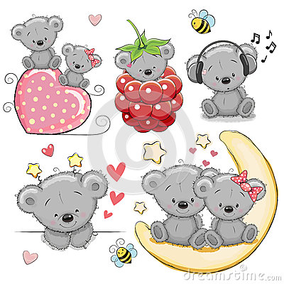 Free Set Of Cute Cartoon Teddy Bear Stock Photo - 85082730
