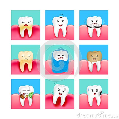 Free Set Of Cute Cartoon Tooth Emoticons With Different Facial Expressions. Royalty Free Stock Image - 123792416