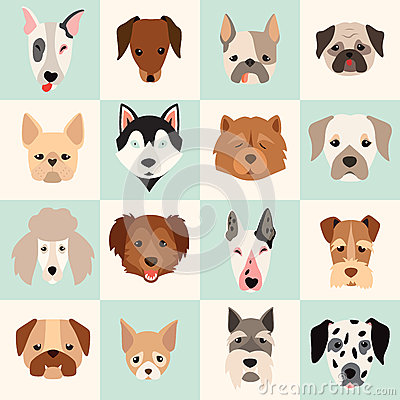 Free Set Of Cute Dogs Icons, Vector Flat Illustrations Stock Images - 61612054