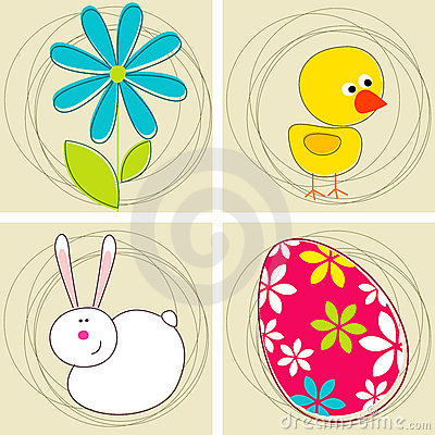 Free Set Of Cute Easter Greeting Cards Stock Image - 13624741