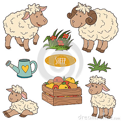 Free Set Of Cute Farm Animals And Objects, Vector Family Sheep Stock Photography - 55061732