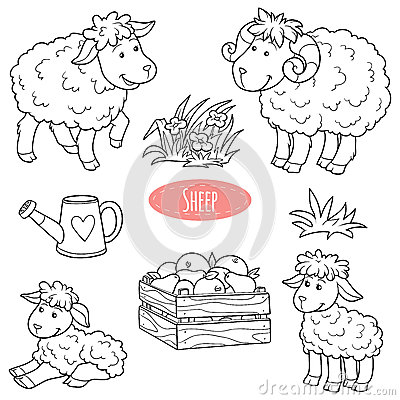 Free Set Of Cute Farm Animals And Objects, Vector Family Sheep Royalty Free Stock Photo - 55061745