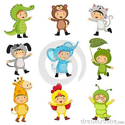 Free Set Of Cute Kids Wearing Animal Costumes. Alligator, Bear, Cat, Royalty Free Stock Photo - 75902605