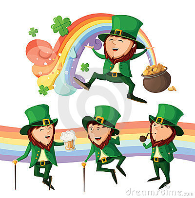 Free Set Of Cute Leprechauns. Royalty Free Stock Photo - 23700725