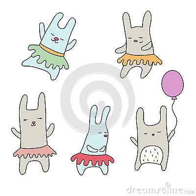 Free Set Of Cute Little Cartoon Hares Royalty Free Stock Photo - 94389865