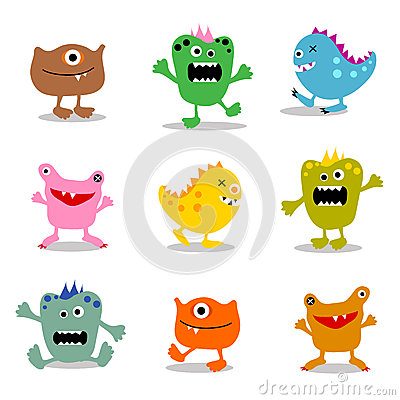 Free Set Of Cute Little Monsters 1 Stock Photo - 26394170