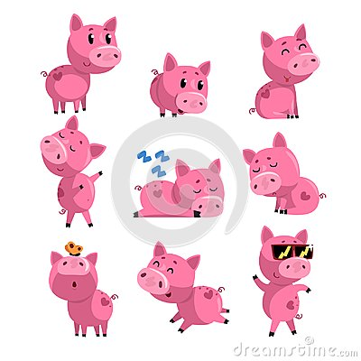 Free Set Of Cute Little Pig In Different Actions. Sleeping, Dancing, Walking, Sitting, Jumping. Cartoon Character Of Pink Royalty Free Stock Images - 108503289
