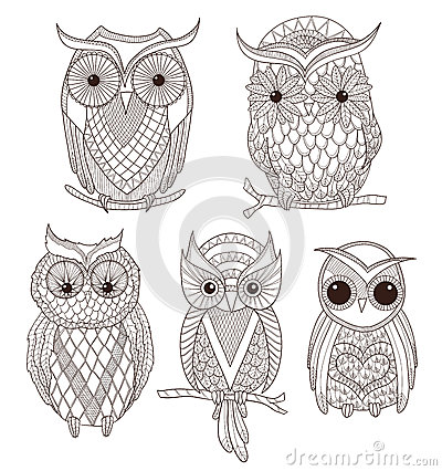 Free Set Of Cute Owls Stock Image - 25217401