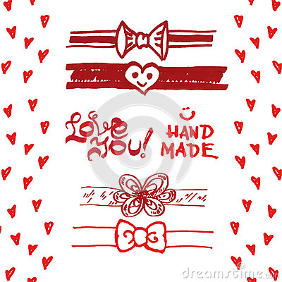 Free Set Of Cute Ribbons, Bows, Hearts. Stock Photography - 53714022