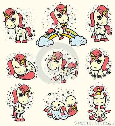 Free Set Of Cute Unicorn Set Stock Image - 97583261