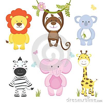 Free Set Of Cute Vector Cartoon Wild Animals Stock Image - 39982131