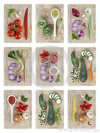 Free Set Of Cutting Boards With Many Vegetables Isolated On White Bac Royalty Free Stock Photography - 112414277
