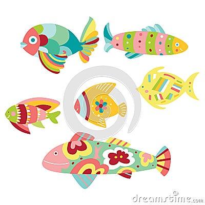 Free Set Of Decorative Fish Stock Image - 15242761