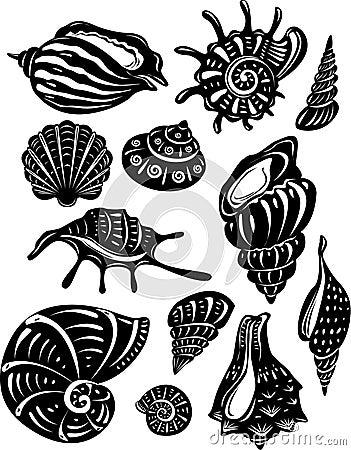 Free Set Of Decorative Shell Royalty Free Stock Image - 10655936