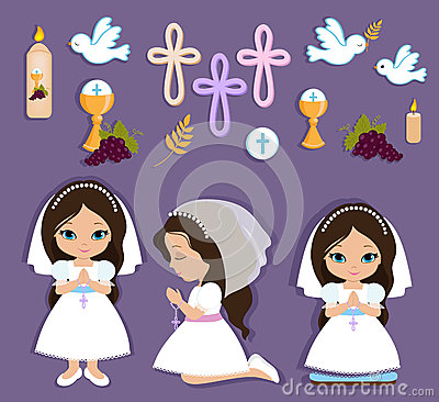Free Set Of Design Elements For First Communion For Girls Stock Photo - 68919050
