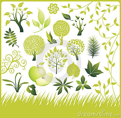 Free Set Of Design Elements. Green Collection. Stock Images - 10729034