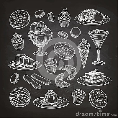 Free Set Of Dessert On Chalkboard. Royalty Free Stock Photos - 96195778