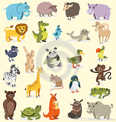Free Set Of Different Animals. Birds, Mammals, Reptiles. Vector Drawing Stock Photography - 87687622