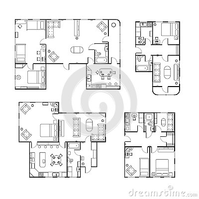 Free Set Of Different Black And White House Floor Plans With Interior Details On White Stock Photos - 102282433