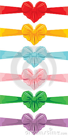 Free Set Of Different Colors Bows In Heart Shape Isolated  Stock Images - 71109834