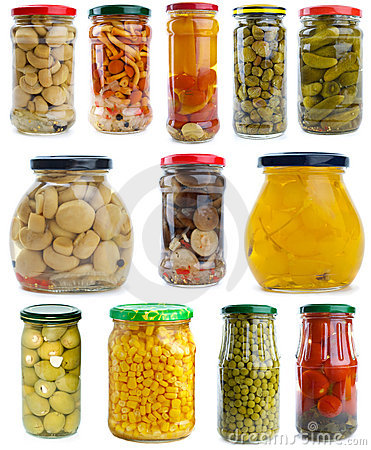 Free Set Of Different Fruits & Vegetables In Glass Jars Stock Photos - 10816243