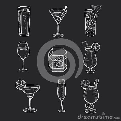 Free Set Of Different Hand Drawn Beverages On The Royalty Free Stock Images - 58064949