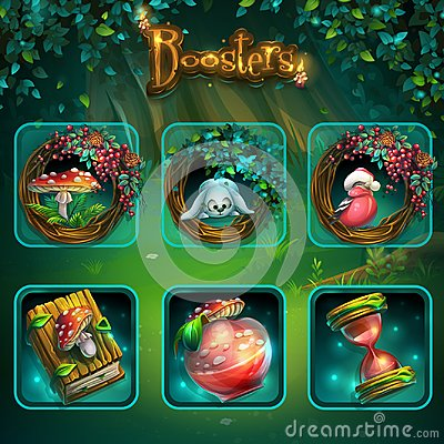 Free Set Of Different Items For Game User Interface. Vector Background Illustration Screen To The Computer Game Shadowy Forest GUI Stock Photos - 103774653