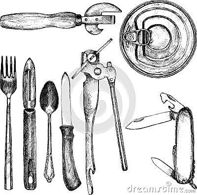 Free Set Of Different Kitchen Utensil Royalty Free Stock Photo - 51267655