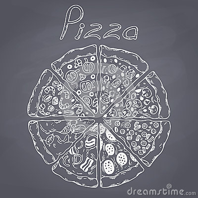 Free Set Of Different Slices Of Pizza In Vector. Chalk Style Illustration On Chalkboard Royalty Free Stock Photography - 53636287