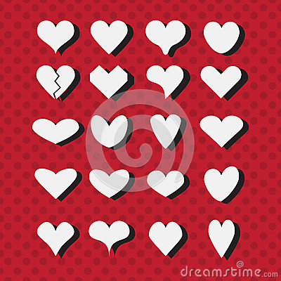 Free Set Of Different White Heart Shapes Icons On Modern Red Dotted Background Royalty Free Stock Image - 48644926