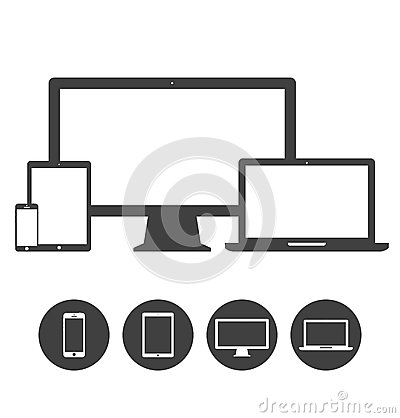 Free Set Of Display, Laptop, Tablet And Mobile Phones Royalty Free Stock Photo - 42295695