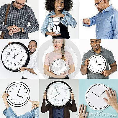 Free Set Of Diverse People With Time Management Studio Collage Royalty Free Stock Images - 102602579