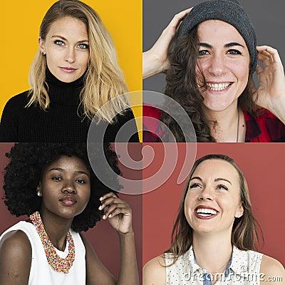 Free Set Of Diversity Women Face Expression Lifestyle Studio Collage Royalty Free Stock Photos - 96005808