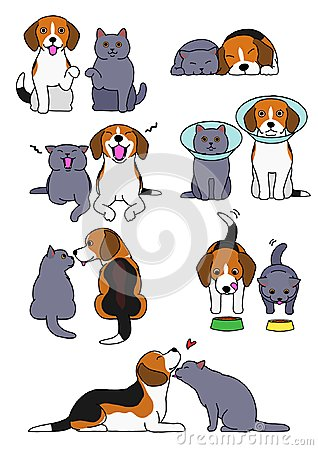 Free Set Of Dog And Cat Pairs Stock Image - 120070951