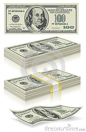 Free Set Of Dollar Bank Notes Royalty Free Stock Photos - 17967138