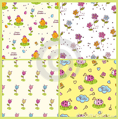 Free Set Of Doodle Easter Seamless Patterns Royalty Free Stock Images - 48788019
