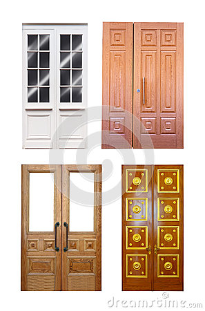 Free Set Of Double Wooden Doors  Over White Stock Photography - 30579692
