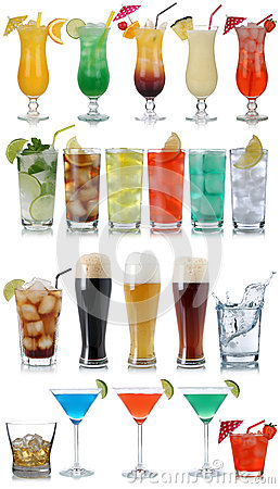 Free Set Of Drinks, Cocktails, Cola, Beer, Water And Whisky Stock Images - 44244174