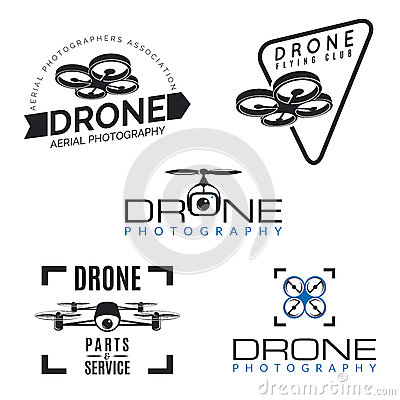 Free Set Of Drone Logos, Badges And Design Elements. Stock Photography - 59867662