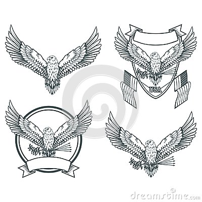 Free Set Of Eagles. Bald Eagle Logo. Wild Birds Drawing. Head Of An Eagle. Royalty Free Stock Images - 117802619