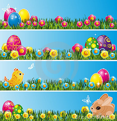 Free Set Of Easter Banners. Royalty Free Stock Photography - 12724507