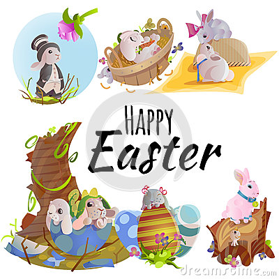 Free Set Of Easter Chocolate Egg Hunt Bunny Basket On Green Grass Decorated Flowers, Rabbit Funny Ears, Happy Spring Holiday Stock Photo - 89513810