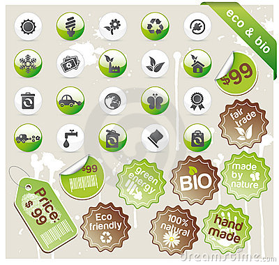 Free Set Of Eco & Bio Icons, Stickers And Tags Royalty Free Stock Photography - 13948107