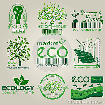 Free Set Of Ecology, Environment And Recycling Logos. Vector Logo Tem Stock Image - 50129721