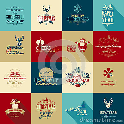 Free Set Of Elements For Christmas And New Year Greetin Stock Photos - 34785113