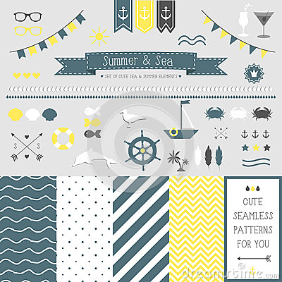 Free Set Of Elements For Design. Sea And Summer. Stock Image - 38928391
