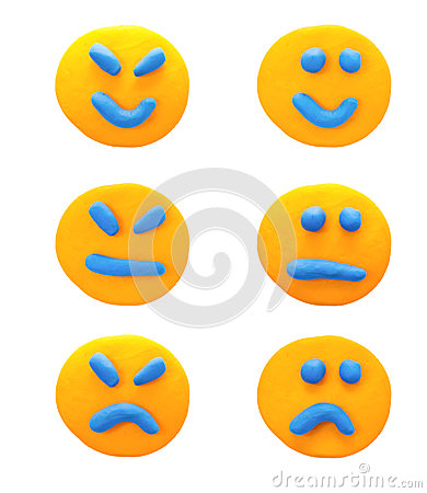 Free Set Of Emotions With  Plasticine Clay. Royalty Free Stock Image - 33826156