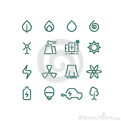 Free Set Of Energy Sources Line Icons. Vector Alternative Energy Pictograms Royalty Free Stock Photos - 75924308